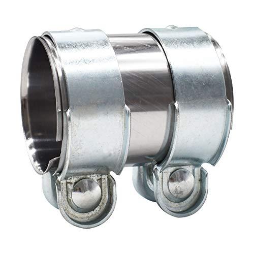 Abrazadera Del Tubo de Escape,Tianher Abrazadera Tubo Escape Universal Acoplador Acero Inoxidable Conector con Tornillos(2,5 Pulgadas)