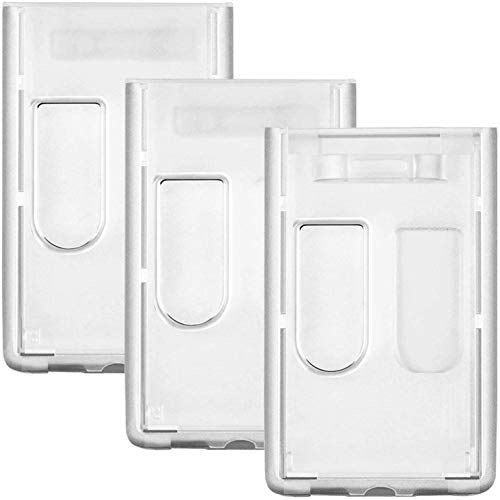 3 Pack- Heavy Duty ID Badge Holder by Elimoons, Hard Plastic Clear Holder with Thumb Slots - Holds 2 Card