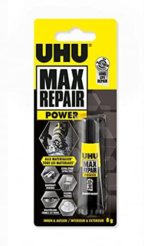 UHU Max Repair, Colle de Réparation, colle forte et élastique, idéale pour les Chaussures, Le Caoutchouc et Le cuir, tube, 8 G, Transparent