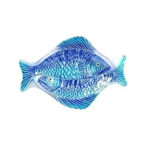 CAPRILO. Plato de Cristal Decorativo Marinero 2 Peces Azules. Vajillas y Cubertería. Decoración Hogar. Regalos Originales. 3 x 38 x 26 cm.