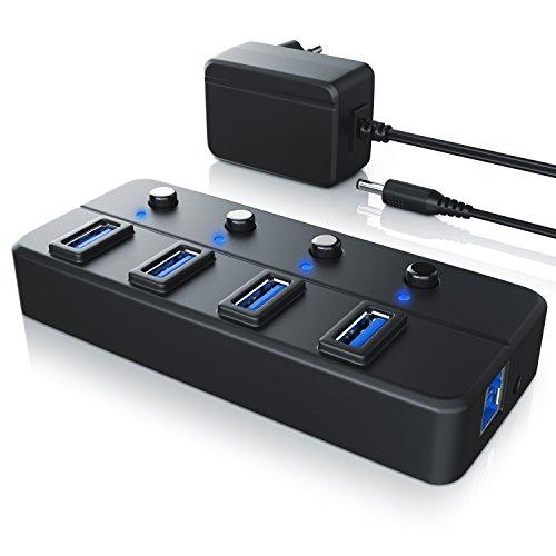 CSL - aktiver USB Hub 3.0 mit Netzteil 4 Port schaltbar - Datenhub kompatibel mit PC Notebook Apple MacBook MacBook Air Pro Mini iMac MacPro Tablet PS4 UVM. - bis zu 5 Gbit s - aktiv inkl. Netzteil