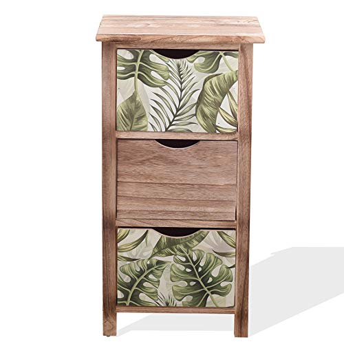 Rebecca Mobili Mueble Cajonera Organizador Madera Marrón Claro Verde Design Natural Habitación Comedor - 65x34x27 (A x AN x FON) - Art. RE6131