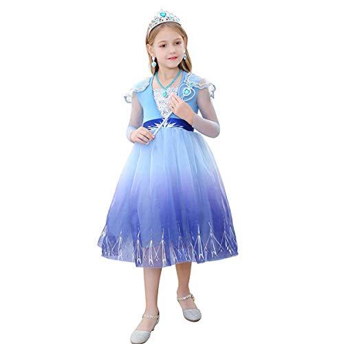 IBAKOM Kinder Kleine Mädchen Prinzessin Kleider Fee Cosplay Kostüm Spitze Mesh Langarm Tüll Kleid Halloween Karneval Verkleidung Blau 2-3 Jahre