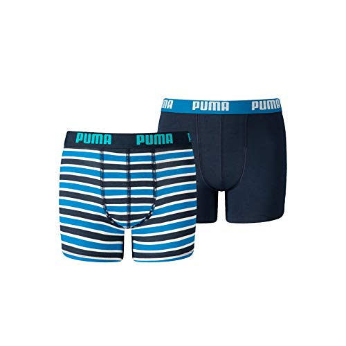 PUMA Boys Classic Printed Stripe Boy's Boxers (2 Pack) Boxer Shorts, Blue, 170-176