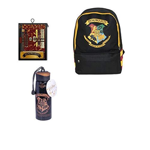 UDC Wizarding World- Trio Hogwarts / HP - Mochila con escudo de Hogwarts (40 x 20 x 15 cm) + Set de papelería Hogwarts School + botella Hogwarts (plástico sin bisfenol A – 500 ml)