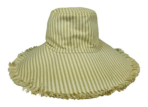 Hat Attack Women's Fringed Edge Sunhat, Packable Crushable Canvas BVV603 Bucket Style Crusher (Natural Stripe)