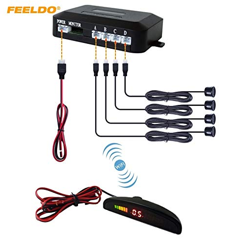 Find Bargain Red : FEELDO 1Set Car LED 4 Sensors Wireless Parking Sensor Reversing Backup Radar 10 C...