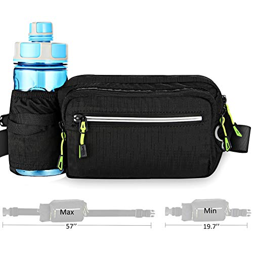 Fanny Pack with Water Bottle Holder Hiking Waist Bag Pack for Men Women Outdoors Running Camping Travel Dog Walking Fit 6.5 inches Large Cell-Phone Black