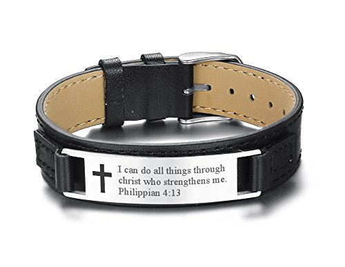 PJ jewellery I can do All Things Through Christ who Strengthens me Philippian 4:13 Inspirational Leather Bracelet