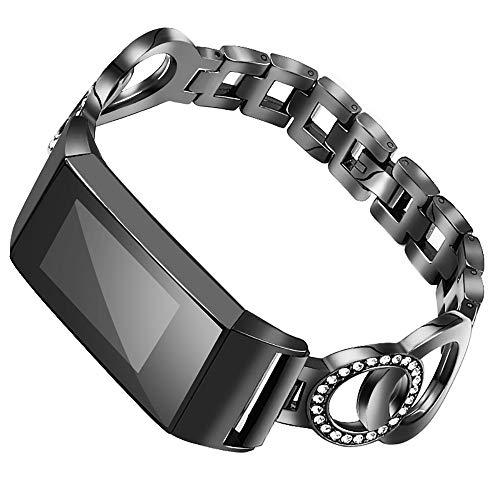 Nigaee Armband Ersatz für Fitbit Charge 3/ Charge 3 SE Ersatzarmband Edelstahl Uhrenarmband Metall Ersatzband kompatibel für Fitbit Charge 3 Armbänder verstellbar Anti-Rost