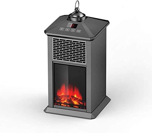Estufa eléctrica de paredes de vidrio con ventilador y estufa de leña Calefacción de habitación con llama LED - Estufa eléctrica Termostato de 80