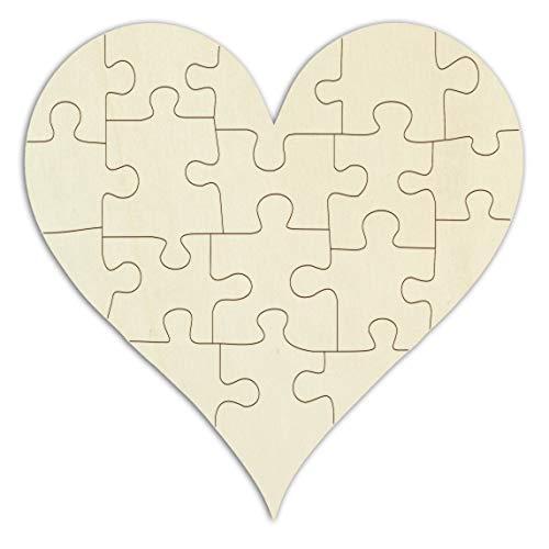 Kopierladen Holzpuzzle Spitzes Herz zum bemalen und selbst gestalten, leeres Puzzle aus Schichtholz in Herzform, 18 Teile, ca. 21 x 20 cm