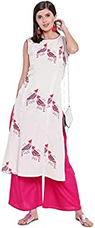Stylum Women's Animal Print Rayon Straight Kurta Palazzo Set (Off White)