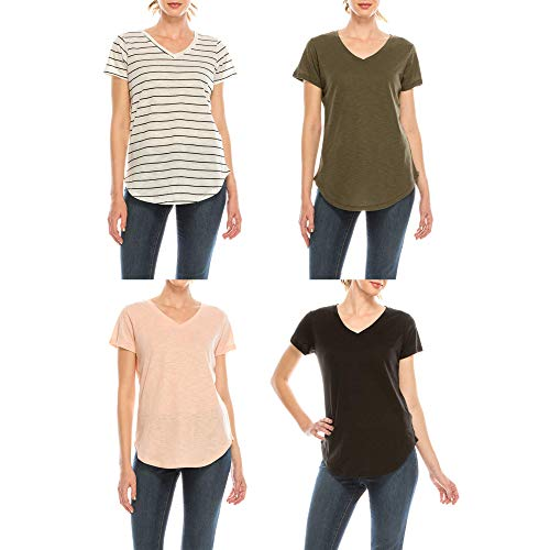 Urban Diction 4 Pack Women's V-Neck Stretch Short Sleeve T-Shirts (Stripes - Olive - Peach - Black)
