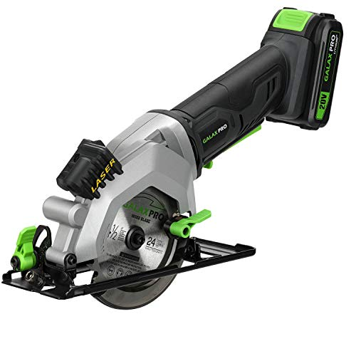 """GALAX PRO 20V 4-1/2"""" Cordless Circular Saw with 2.0Ah battery, Laser Guide, Rip Guide, 2 PCS Blades, 3400RPM, Max Cutting Depth 1-11/16""""(90°), 1-1/8""""(45°)"""
