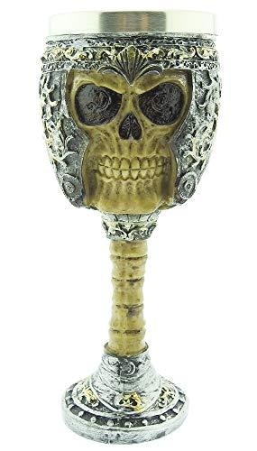 Cáliz medieval - calavera - copa - calavera - esqueleto - 3d - casco - acero inoxidable - resina - cáliz de caballero - horror - gótico - idea de regalo - vino - vikingo - medieval - halloween
