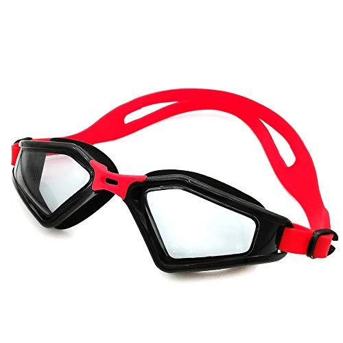 Sportbrillen Schwimmbrille Kein Auslaufen von Antibeschlag Indoor Outdoor mit UV-Schutz Verspiegelte klare Gläser for Frauen Männer Jugend JFYCUICAN (Color : Rot, Size : Kostenlos)