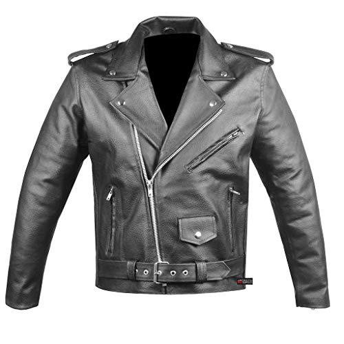 Marlboro Leder Herren, Damen Classic Side Lace Police Style Motorrad echte Schwarze Lederjacke-m