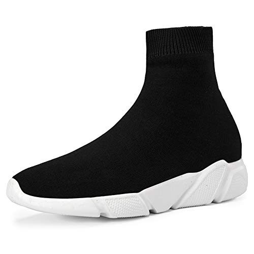 SUNROLAN Fashion Sneakers for Women and Men Lightweight Athletic Running Shoes Breathable Walking Sock Shoes(7008-1, Black 44)