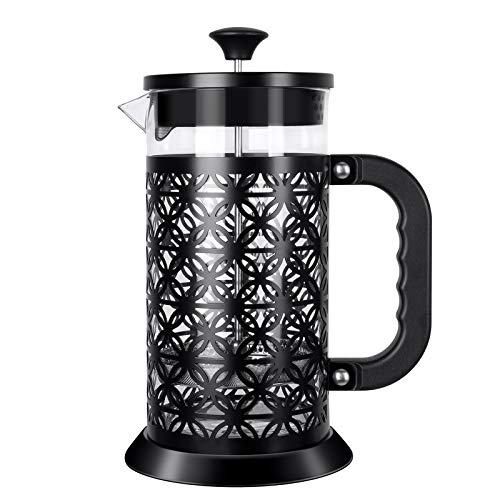 IREENUO French Press Coffee Maker Coffee Press With Strong Filtration - Heat Resistant Borosilicate Glass, Stainless Steel, Black