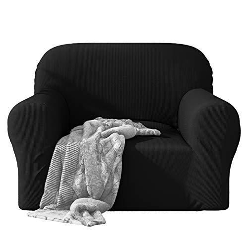 Dreamzie - Sofabezug 1 Sitzer Elastische - Schwarz - Oeko-TEX® - Sofa Überzug 60{be04122079f84dba0724fb6cafb8e6a90c949b57bda7993f9d66a798daff0c66} Recycelter Baumwolle - Made in Europe
