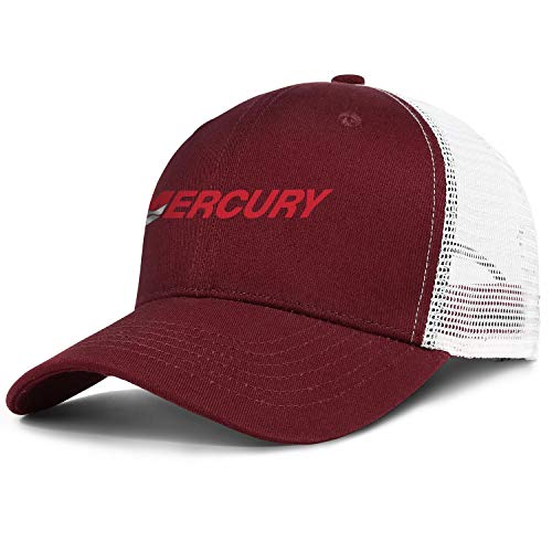 Beautiful Women Mens Baseball Cap Retro Sparkle Logo-Mercury-Marine- Adjustable Mesh Back Trucker Cap Sun Hat