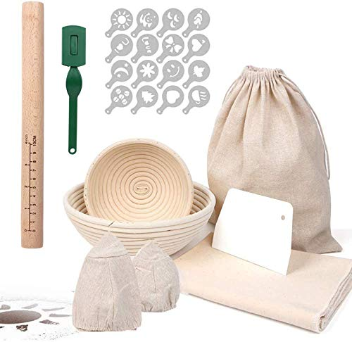 RAIN QUEEN Gärkorb Gärkörbchen Brot Proofing Körbe Runde Rattan Brot Fermentation Korb Bäckermesser Backen Kit (Set Rund(15+22cm))