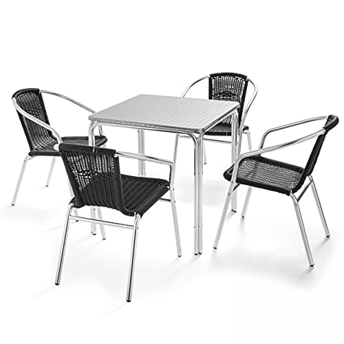 Oviala Table de Jardin et 4 chaises Noir Carré 70 x 70 x 72 cm Aluminium 4 Places Nothing Hill