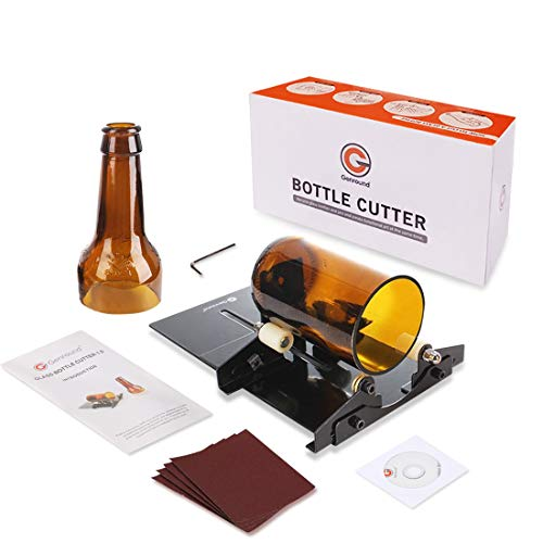 Genround Glass Bottle Cutter, Bottle Cutter DIY Machine for Cutting Wine Beer Whiskey Alcohol Champagne Liquor Round Bottles to Craft Glasses Black