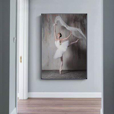 wZUN Simple Ballet Dancing Girl Pintura Decorativa Sala de Estar Dormitorio en casa Pintura Decorativa Lienzo Pintura 60x90 Sin Marco