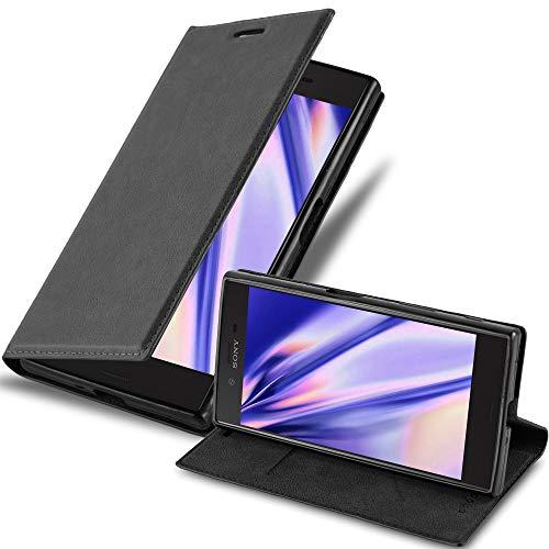 Cadorabo Hülle für Sony Xperia X Compact - Hülle in Nacht SCHWARZ – Handyhülle mit Magnetverschluss, Standfunktion & Kartenfach - Hülle Cover Schutzhülle Etui Tasche Book Klapp Style