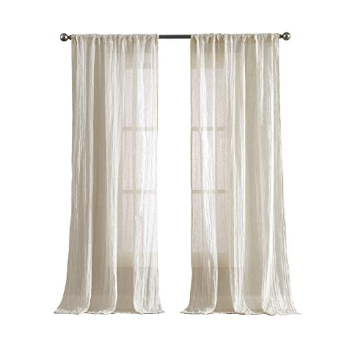 """French Connection Charter Crushed 100"""" x 84"""" Rod Pocket Window Curtain Pair, Natural"""