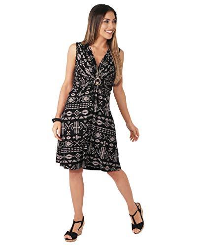 KRISP 6607-MOCBLK-20, Vestido Mujer Casual Corto Estampado Tallas Grandes, Café/Negro, 48
