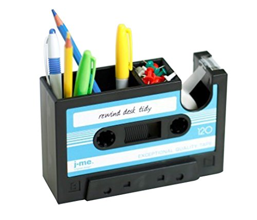 Popular Creative adhesive tape holder Pen holder Vase Pencil Pot Stationery Desk Tidy Container office stationery supplier Gift (blue)
