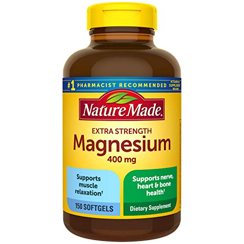 Nature Made High Potency Magnesium 400 mg, Pack of 3 Bottles, 150 Softgels Each