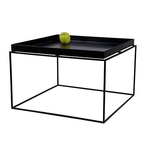 JINKEBIN Tavolo Pieghevole Moderna caffè Tea Side Table Tavolo Black Metal Frame (Colori: Nero, Formato: 60 * 60 * 39 Centimetri)