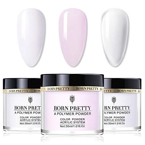 BORN PRETTY polvo acrilico para uñas conjunto de colección de polvo acrílico para uñas de 3 colores sistema de uñas de acrílico profesional de color rosa blanco claro generador de polvo