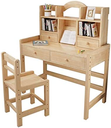 Adjustable Height Wooden Student Desk and Chair Set with Drawers and Bookshelves Writing Drawing product image