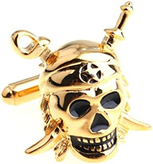 Gold Tone Swords Skull Pirates in the Caribbean Jolly Rodger Cufflinks Cuff Links