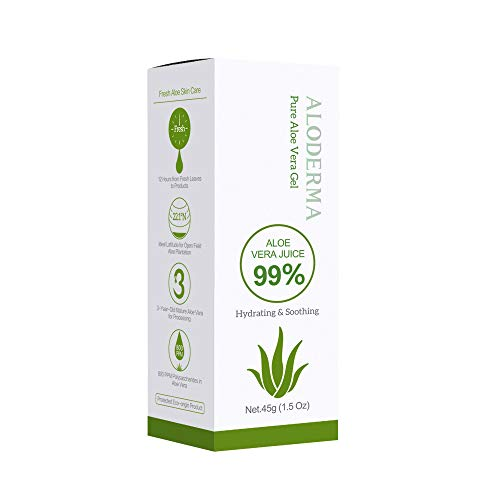 ALODERMA Organic Pure Aloe Vera Gel Made with 99% USDA Organic Certified Aloe Vera within 12 Hours of Harvest 45g 15 oz No Powder Concentrates or Parabens – Perfect for Everyday Use – Suitable for All Skin Types – No Sticky Residue – Vegan and CrueltyFree – EcoFriendly