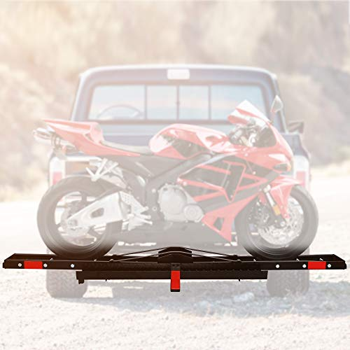"""LUCKYERMORE Motorcycle Rack Motorcycle Scooter Carrier Hauler Hitch Mount Rack with Loading Ramp Fit 2"""" Receiver of Cars, SUVs and Vans"""
