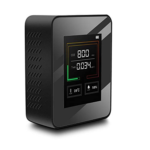 MYXE Indoor Air Quality Monitor LCD Digital CO2 Luftqualitätsmesser Echtzeit TFT Intelligente Luftqualität Sensor Tester CO2-Detektor für Campervan (Color : Black)