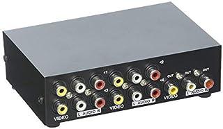 Duttek 4-Port AV Switch RCA Switcher 4 en 1 Salida de Video Compuesto L/R Audio Selector Box para DVD STB Game Consoles