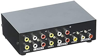Duttek 4-Port AV Switch RCA Switcher 4 en 1 Salida de video compuesto L / R Audio Selector Box para DVD STB Game Consoles
