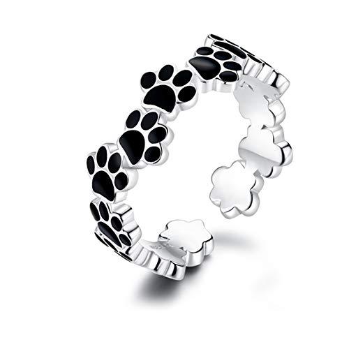 Anillos abiertos de plata de ley 925 con diseño de huella de perro, color negro, ajustable, bonito anillo para cachorro, anillo de regalo para mujeres y niñas