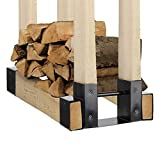 Lanhui Fireplace Wood Storage Rack Indoor Outdoor Firewood Log Rack Bracket Kit Adjustable Length Fire Pit Holder 13.2x6x3.7inch