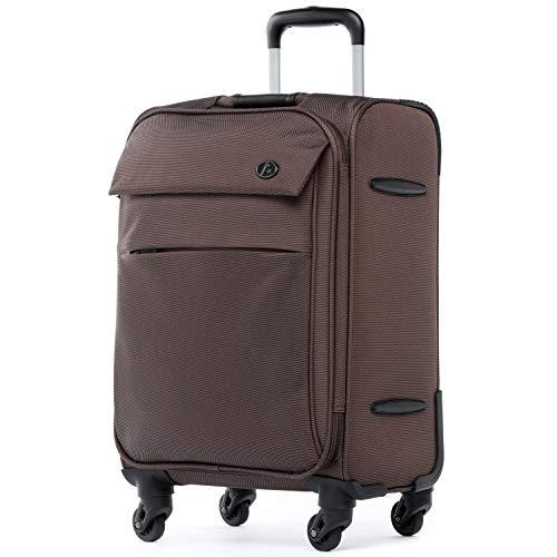 FERGÉ Trolley bagaglio a mano viaggio Calais - Valigia rigida valigetta bagaglio cabina 4 ruote girevole marrone