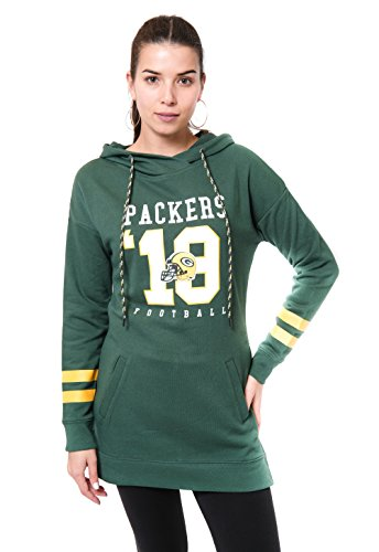 Ultra Game NFL Green Bay Packers Womenss Tunic Hoodie Pullover Sweatshirt Terry, Team Color, Large