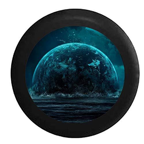 Hokdny Cubiertas De Neumáticos para Rueda De Repuesto Luna En El Cielo Nocturno Que Se Eleva Desde El Agua Negra A Prueba De Polvo, Impermeable, Protección Solar Y Protección contra La Corrosión.