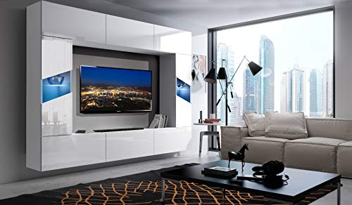 Home Direct S8, Modernes Wohnzimmer, Wohnwände, Wohnschränke, Schrankwand, Möbel (Front: Weiß Hochglanz/Korpus: Weiß Matt S8-HG-W-2-1, Möbel ohne LED)